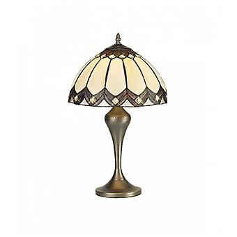 Benderton Tiffany Table Lamp, 1 X E27, Aged Antique Brass Base/c/brown Glass/clear Crystal