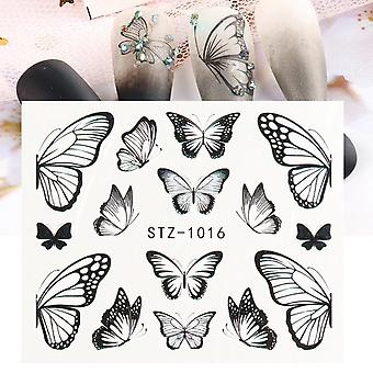 1pc Butterfly Nail Decals og Sticker Black Blue Butterfly Flower Vand Tattoo For Manicure Nail Art Slider Decor