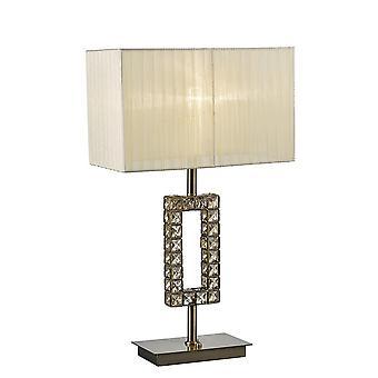 Prostokątna lampa stołowa z kremowym odcieniem 1 lekki antyczny mosiądz, kryształ