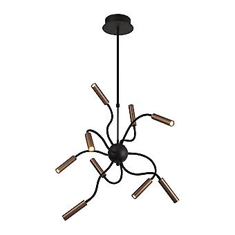 Luminosa Beleuchtung - Sputnik Deckenanhänger, 9 Licht verstellbare Arme, 9 x 4W LED dimmbar, 3000K, 2250lm, schwarz, Satin Kupfer