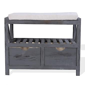 Rebecca Furniture Bench Bench Shoe 2 Vintage Grey Drawers Retro 43x65x34