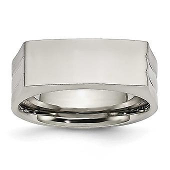 Rustfritt stål polert graverbar 8mm Band Ring smykker gaver til kvinner - Ring Størrelse: 9 til 11