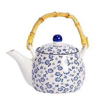 Nicola Spring Daisy tetera con patrón - olla de porcelana de estilo japonés con mango de bambú - azul marino - 500ml