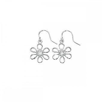 Beginnings Sterling Silver E3924C Clear Cz Flower Earrings