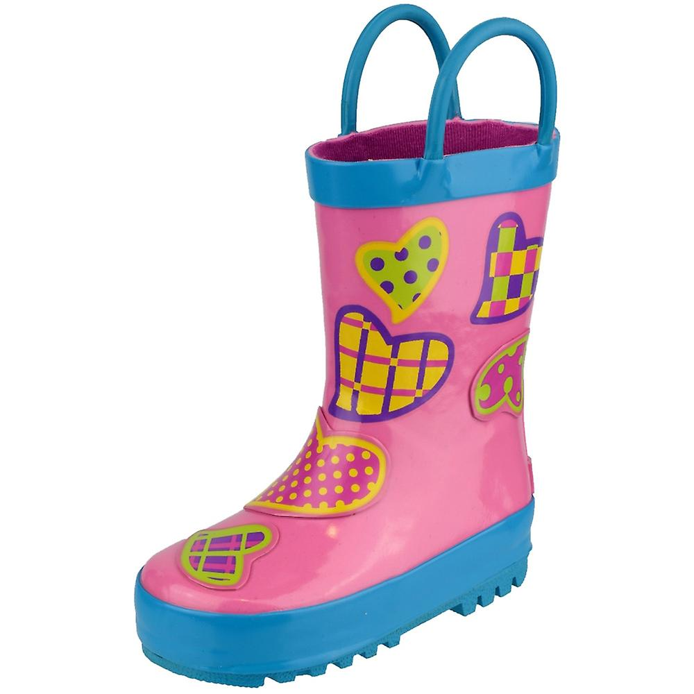 Cotswold Girls Puddle Patterned Rubber Welly Wellington Boot Pink