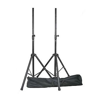 Heavy duty tripod telescopic 35mm speaker stands (pair) in strong gig bag