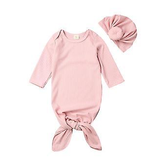 شرنقة الطفل حديث الولادة Swaddle بطانية أكياس النوم Muslin التفاف + قبعة مجموعات حقيبة النوم الطفل ل0-6m