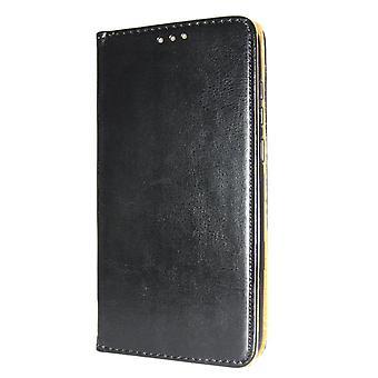 ekte lær bok slank iPhone 12 mini lommebok tilfelle svart