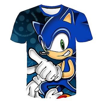 Cartoon Print Sonic Hedgehog T Shirt Streetwear Children Clothes O-neck Set-3