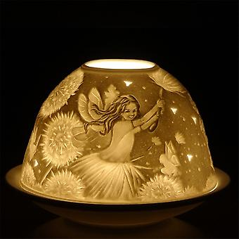 Nordic Lights Candle Shade & Plate - Fairy And Flower