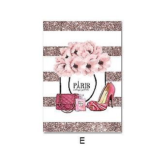 Leinwand Kunst Poster mit rosa Blume, Parfüm Mode - Wand Bild moderne Zimmer