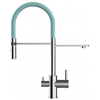 3 Way Kitchen Filter Sink Mixer With Tiffany-tourquise Spring Spout And 2 Jet Spray, Works With All Water Filter System - 137