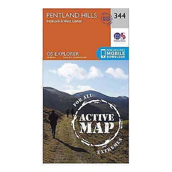Ordnance Survey Explorer Active 344 Pentland Hills Map Orange