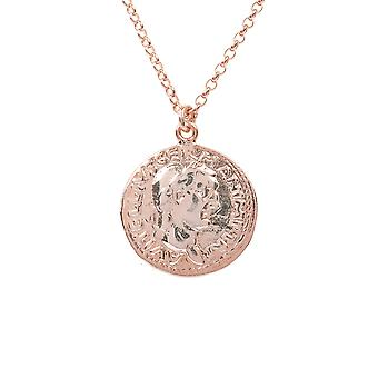 Roman Greek Coin Pink Rose Gold Pendant Necklace Short Chain 45cm Round Simple