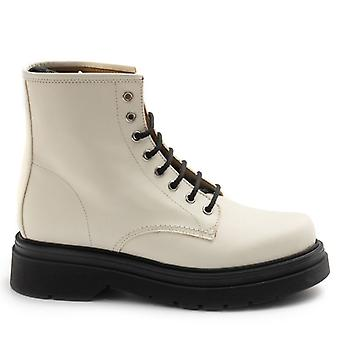 Gio+ Lace-up Ankle Boots in Milk-Colored Leather