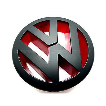 مات الأسود / الأحمر فولكس فاجن بولو 6R الجبهة جريل غطاء محرك غطاء شعار شارة 2009-2013 120mm