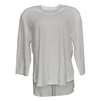 Isaac Mizrahi Live! Women's Top Essentials 3/4 Sleeve V-Neck White A349957