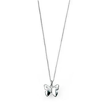 D for diamond Childrens 925 Sterling Silver Diamond Butterfly Pendant Necklace of Length 35.5cm