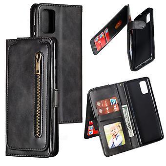 For Galaxy A51 Nine Card Zipper Bag Horizontal Flip Leather Case With Holder & Card Slots & Photo Frame & Wallet(Black)