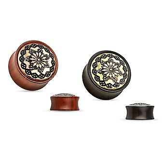 Organic wood ear plugs floral tribal brass inlay saddle fit double flare
