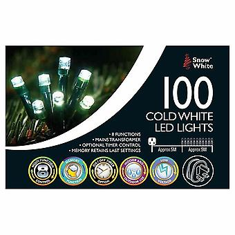 Christmas 100 Multifunction Mains Operated LED Lights Cold white