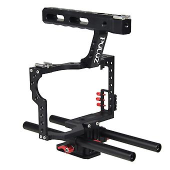 PULUZ Camera Cage Handle Stabilizer for Sony A7 & A7S & A7R & A7R II & A7S II, Panasonic Lumix DMC-GH4(Red)