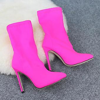 נשים בוהן מחודדת מגפיים אלסטיים עקב גבוה גרביים דק עקבים גבוהים נעלי נשים