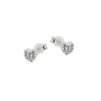 Stud Earring Heart Zirconia Silver 925