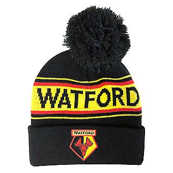 Watford FC Adults Unisex Text Cuff Knitted Beanie
