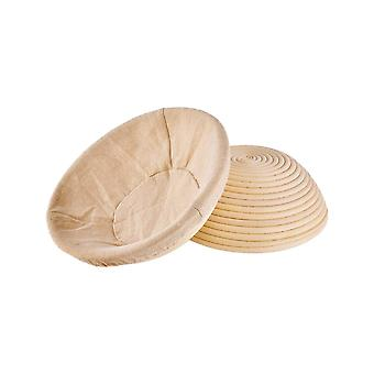 2pcs11*6cm Round Rattan Fermentation Basket for Home Bakers Wood Color