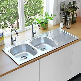 vidaXL kitchen sink double basin with sieve & siphon stainless steel