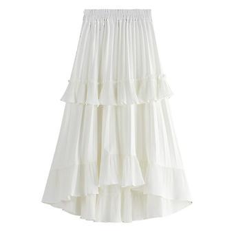 Autumn Pleated Skirt, High Waist, Flouncing Women Long Skirts