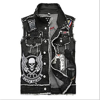 Mens Punk Denim Vests, Embroidery Waistcoat, Slim Fit, Jeans Sleeveless Jacket