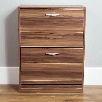 Vida Designs 2 Drawer Shoe Cabinet Cupboard Shoe Storage Organiser Pull Down Wooden Furniture Unit
