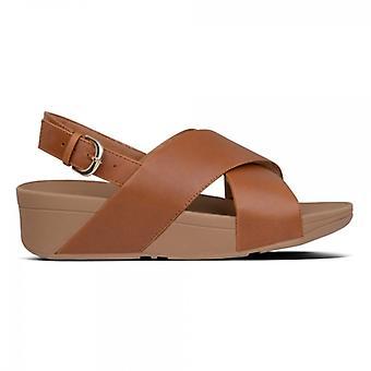 FitFlop Lulu Cross Back Strap Dames lederen sandalen licht tan