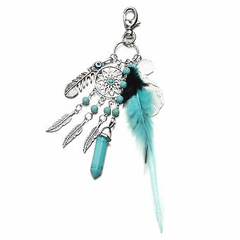 Pendentif tassel feather keychain key ring bags