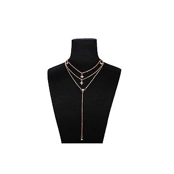 Triple Layered Gold Necklace with Crystal Encrusted Charms