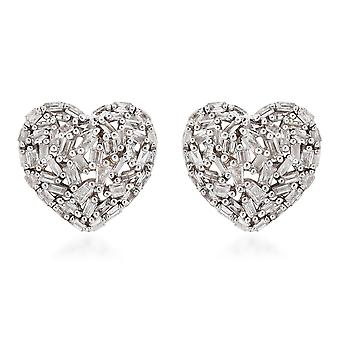 GP 9ct Gold SGL Certified Diamond I3/G-H and Sapphire Heart Stud Earrings 0.52Ct