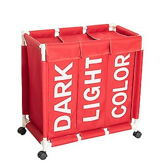 Solid color letter printing laundry basket Oxford three-frame dirty clothes basket with wheel and cover