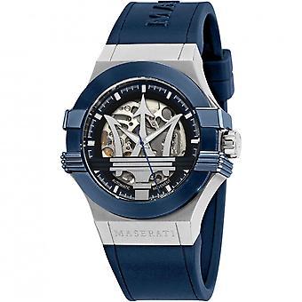 Maserati R8821108028 Homme&s Blue Rubber Strap Potenza Montre-bracelet automatique