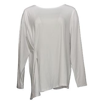Elizabeth & Clarke Women's Top Knit Cinched Waist Long-Sleeve White A368594
