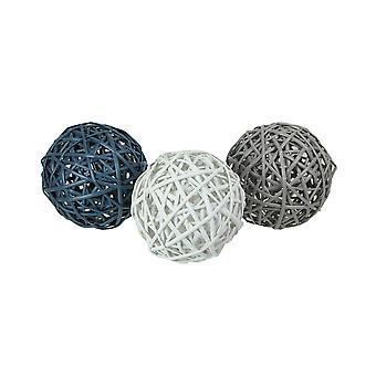 Set of 3 Woven Willow Wicker Decorative Balls 5.5 Inch Diameter