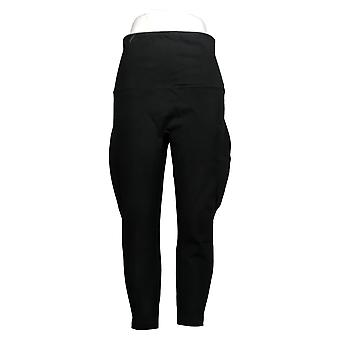 Spanx Petite Leggings Ankle Length Ponte Hem Slit Black A369379