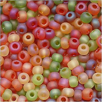 التشيكية بذور الزجاج الخرز، 6/0 جولة، 1 أوقية، الخريف الحصاد الأخضر والبرتقال ميكس