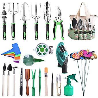 HanFei Gartenwerkzeug Set, 50 in 1 Gartengerte aus rostfrei Edelstahl mit Holzgriff, Werkzeugbeutel