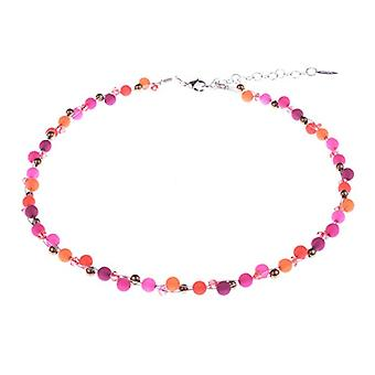"""Propelled """"Johanna"""" necklace by Adi, an attractive mix of Polaris pearls and glass in pink and orange tonalit, handmade by Ref. 425118863287"""