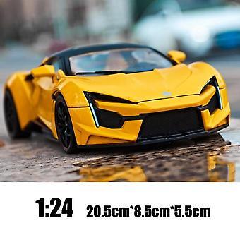 1:24 Lykan Hypersport Fenyr Die Cast -seosautomalli Keräilyesineet Esittelevä lasten leluauto (keltainen)