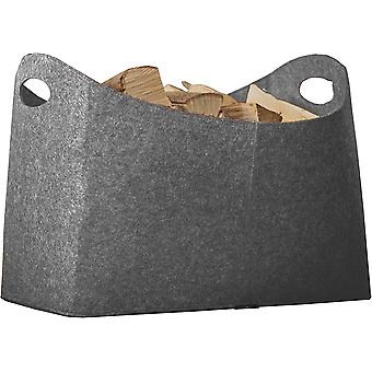 Kaminholztasche XL aus Filz für Holz, Zeitungen, Kaminholz - Filztasche Maße 54 x 30 x 39 cm (Grau)