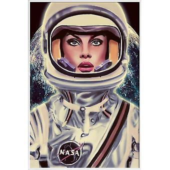 JUNIQE Print - Le Cosmonaute - Plakat astronauty w kolorze niebieskim & czarnym