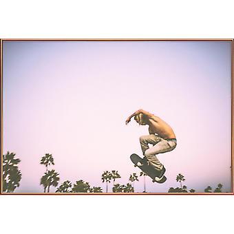 JUNIQE Print - Skate Dreams - Palmer Affisch i blått